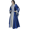Hooded Renaissance Sorceress Gown - Blue and White