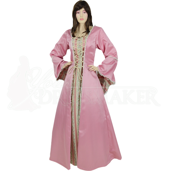 Embroidered Medieval Dress - Pink