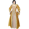 Hooded Renaissance Sorceress Gown - Gold and Pink