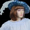 Ladies Renaissance Floppy Hat - Blue with Feather