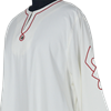 Cotton Norse Robe - White with Red