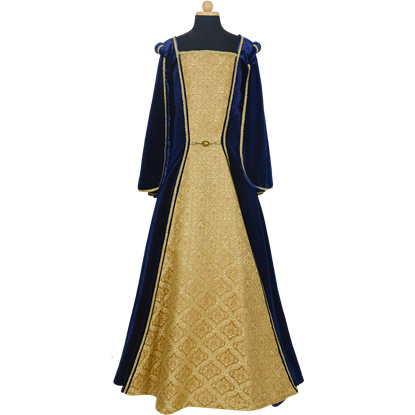 Childs Royal Velvet Gown - Blue and Gold