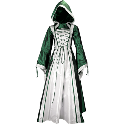 Hooded Renaissance Sorceress Dress - Green