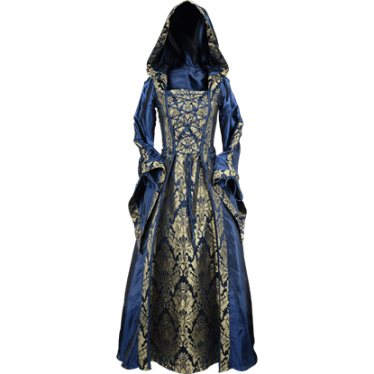 Alluring Damsel Dress with Hood - Blue with Gold