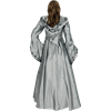 Alluring Damsel Dress with Hood - Silver with Black