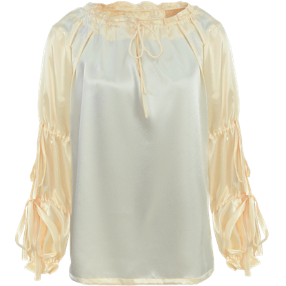 Juliet Tied Sleeve Satin Blouse