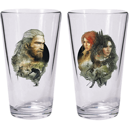 The Witcher 3 Geralt Triss Yennefer Pint Glass Set