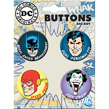 DC Comics Superheroes Have Issues Button Set