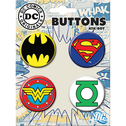 Classic Justice League Emblem Button Set