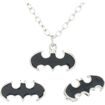 Black Enamel Batman Necklace and Earrings Set