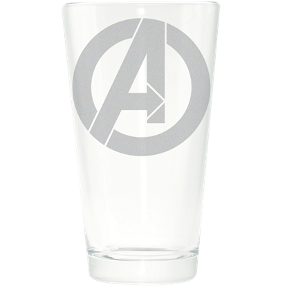Avengers Logo Etched Drinking Glass