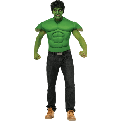 Adult Hulk Muscle Costume Top and Wig
