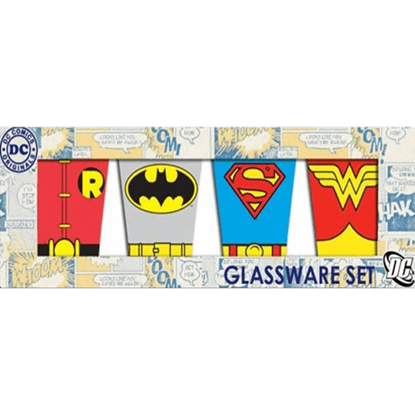 DC Hero Uniforms Four Piece Glassware Set