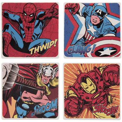 Marvel Comics 4 Piece Ceramic Coaster Set