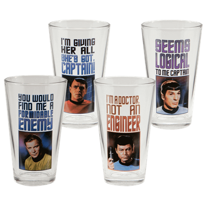 Star Trek Characters 4 Piece Glass Set