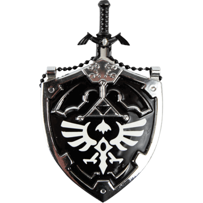 Black Master Sword and Shield Necklace
