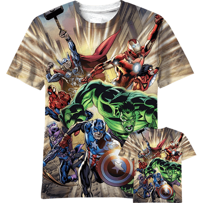 Marvel Heroes In Action Wraparound T-Shirt