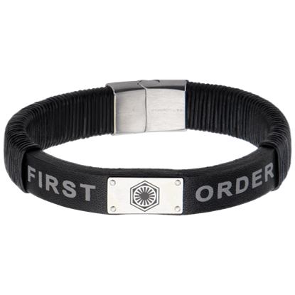 Force Awakens First Order Black Leather Bracelet