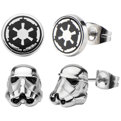 3D Stormtrooper and Galactic Empire Enamel Earrings