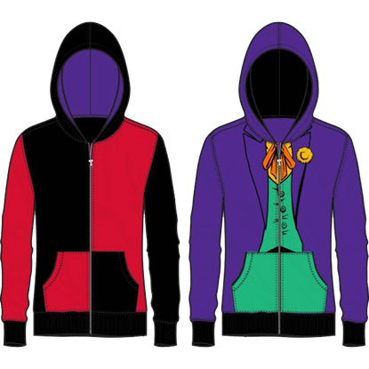Harley Quinn and Joker Junior Reversible Hoodie