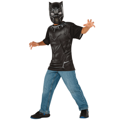 Kids Black Panther Costume Top and Mask Set