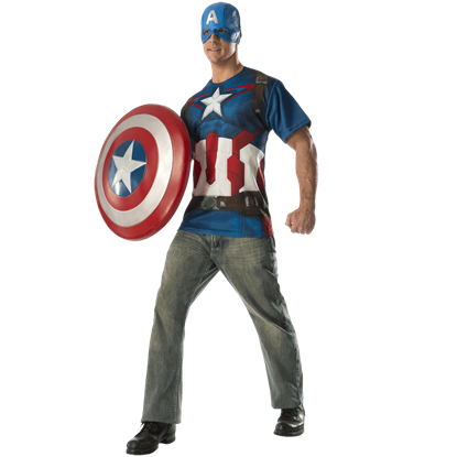 Adult Avengers 2 Captain America Costume Top and Mask Set