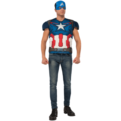 Adult Avengers 2 Deluxe Captain America Costume Top and Mask Set