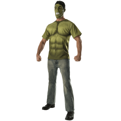 Adult Avengers 2 Hulk Costume Top and Mask Set