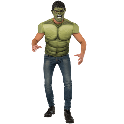 Adult Avengers 2 Deluxe Hulk Costume Top and Mask Set