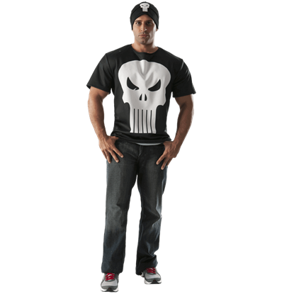 Adult Punisher Costume Top and Hat