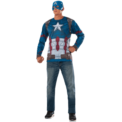 Adult Captain America Costume Top and Mask Set