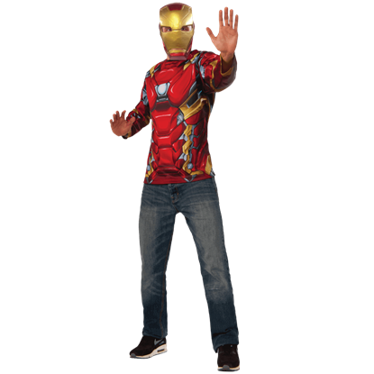 Adult Iron Man Costume Top and Mask Set