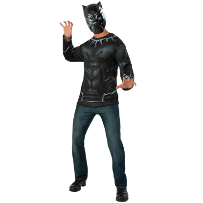 Adult Black Panther Costume Top and Mask Set