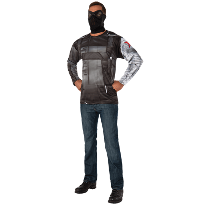 Adult Winter Soldier Costume Top and Mask Set
