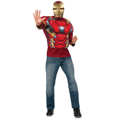 Adult Deluxe Iron Man Costume Top and Mask Set