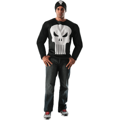 Adult Punisher Long Sleeve Costume Top and Hat Set