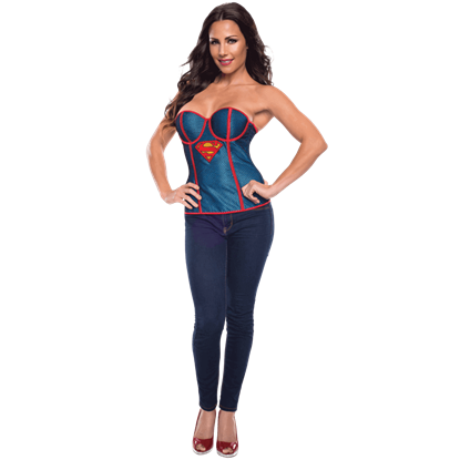 Adult Supergirl Fishnet Overlay Corset