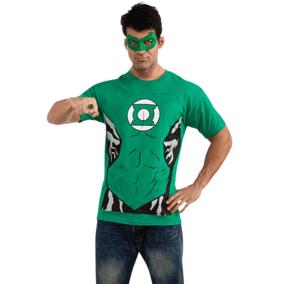 Adult Green Lantern T-Shirt With Eye Mask And Ring