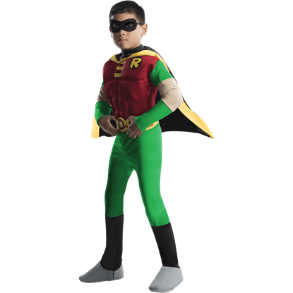 Boys Deluxe Teen Titans Robin Muscle Costume