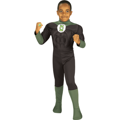 Boys Deluxe Green Lantern Muscle Costume