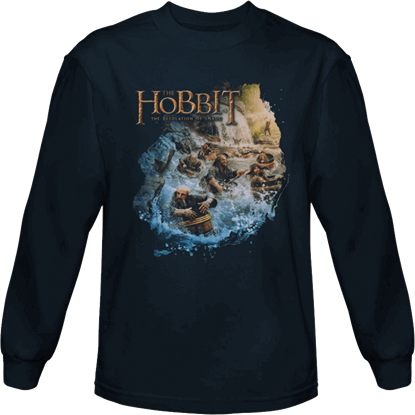 Barreling Down Hobbit Long Sleeved T-Shirt