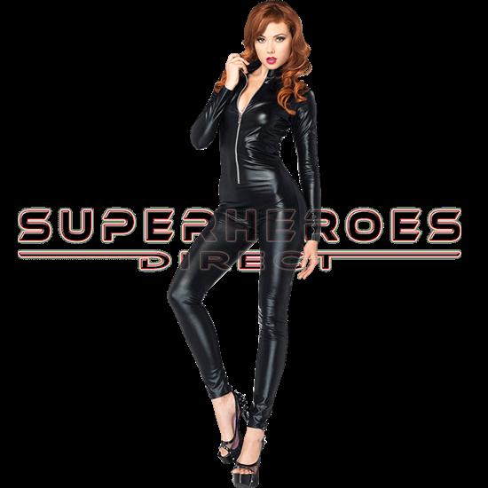 Wet Look Zipper Front Cat Suit