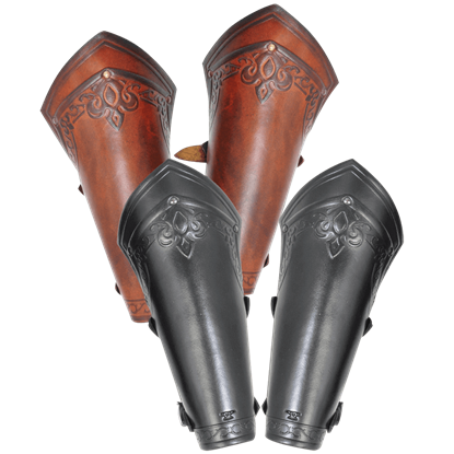 Lancelot Embossed Leather Bracers