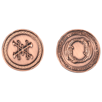 Set of 10 Copper Dragon LARP Coins