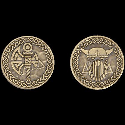 Set of 10 Gold Viking LARP Coins