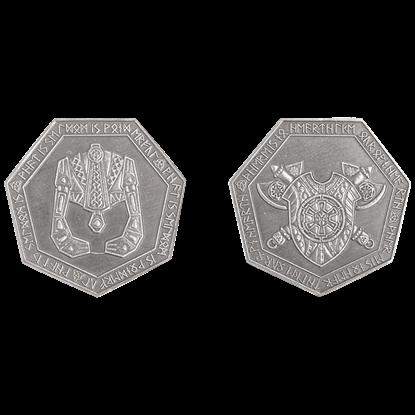 Set of 10 Silver Dwarven LARP Coins