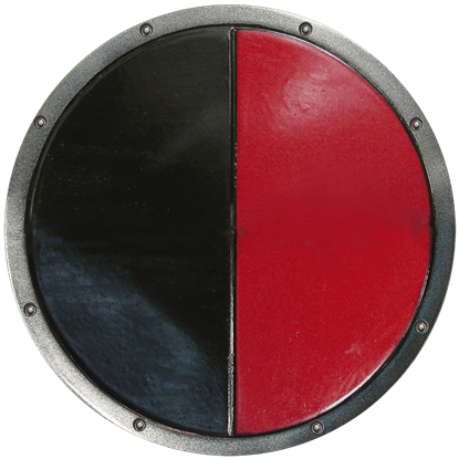 Red and Black Ready For Battle Round LARP Shield