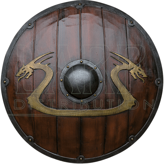 Woodgrain Viking Dragon LARP Shield