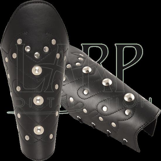 Chevron Leather Bracers - Black