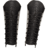 Chevron Flame Leather Greaves - Black